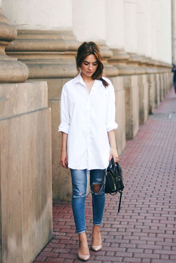 a straight white shirt with cuffed sleeves, ripped jeans and nude shoes for a comfy casual look
