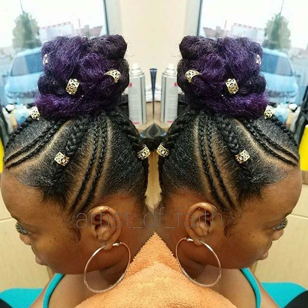 Funky Purple Summer Bun for Summer Protective Styles for Black Women