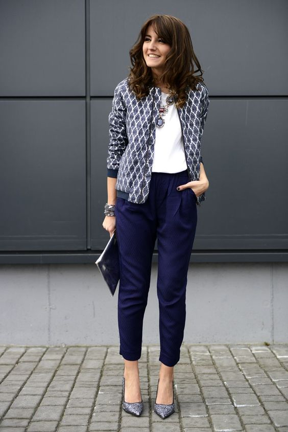 navy cropped pants, a white top, a printed blue blazer and printed heels for a bold work outfit