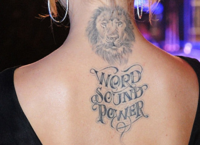 Lion tattoo on the neck