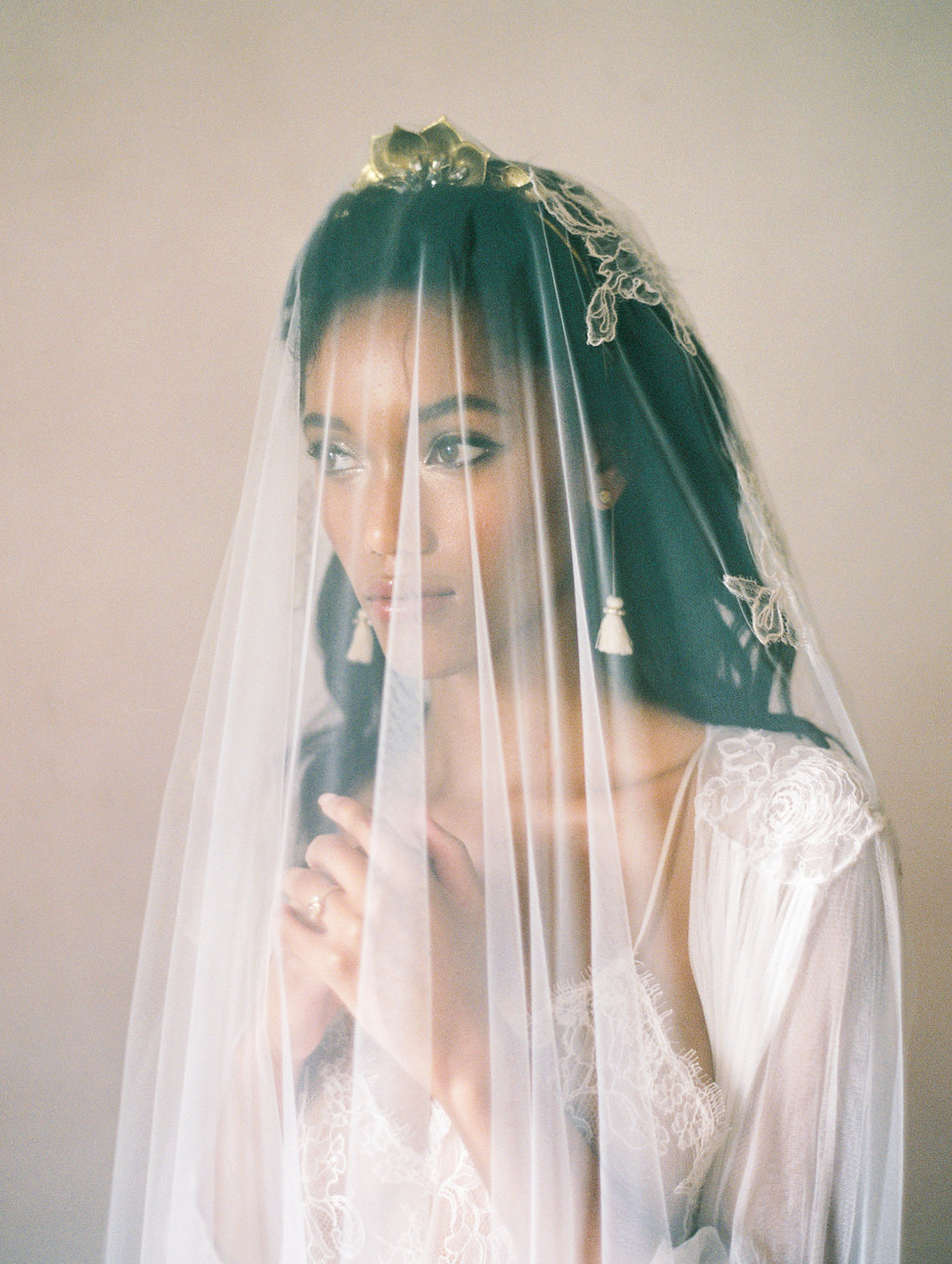 bridal boudoir with veils - photo by Charla Storey http://ruffledblog.com/architectural-san-antonio-mission-wedding-inspiration