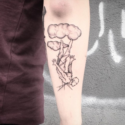 Man falling from the cloud tattoo