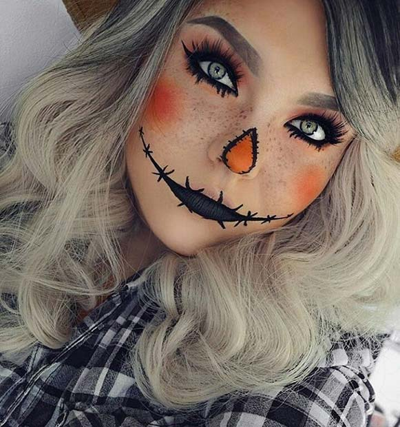 Spooky Scarecrow for Cute Halloween Makeup Ideas