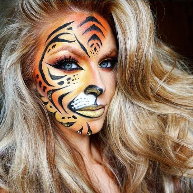 Fierce Tiger Print for Cute Halloween Makeup Ideas