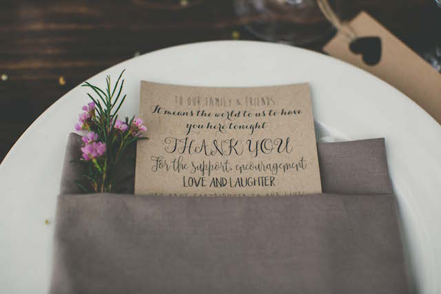 Thank you cards at place settings | Maui Maka Photography