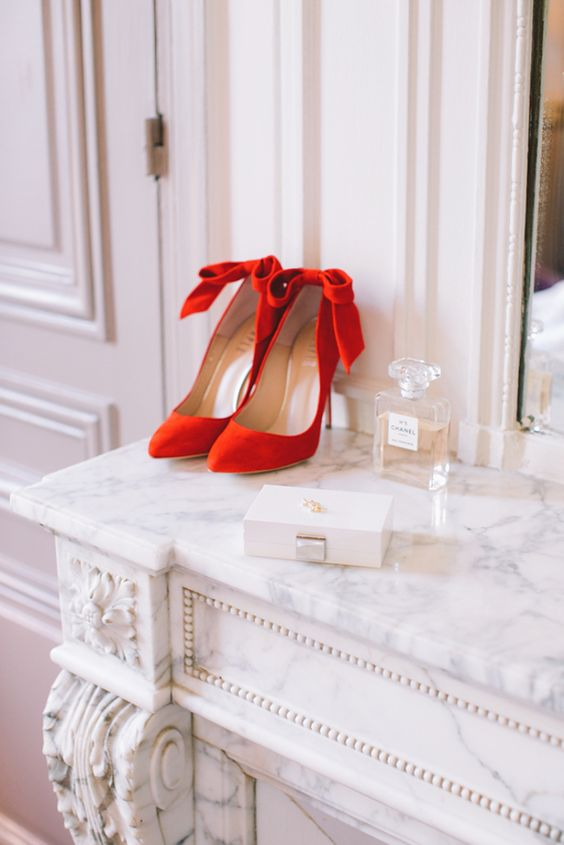 red suede bow heels for an elegant bride