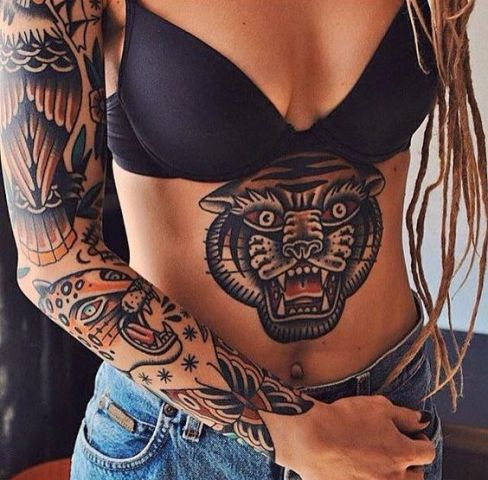 Huge panther tattoo on the stomach