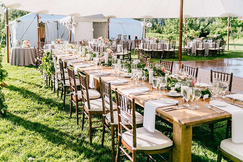 tented wedding receptions - photo by Emily Wren Photography http://ruffledblog.com/bright-beautiful-summer-wedding-with-geometric-accents