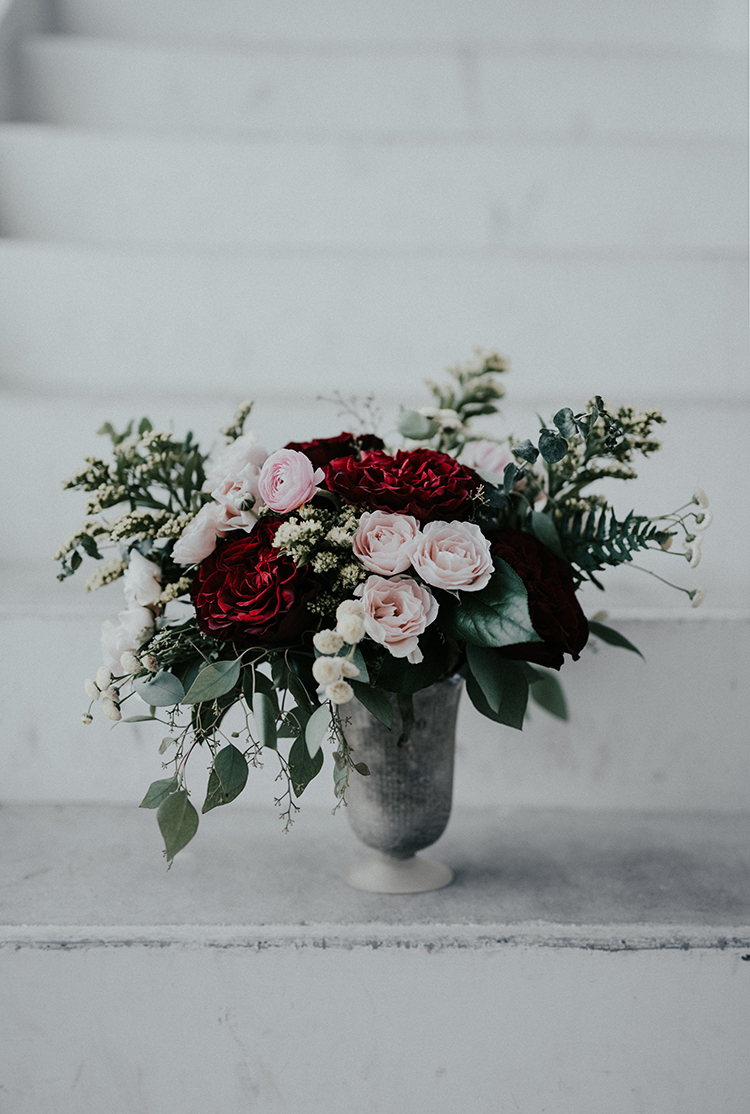 romantic pink and red centerpieces - photo by Minerva House Photography http://ruffledblog.com/dreamy-waterfall-elopement-at-wahclella-falls