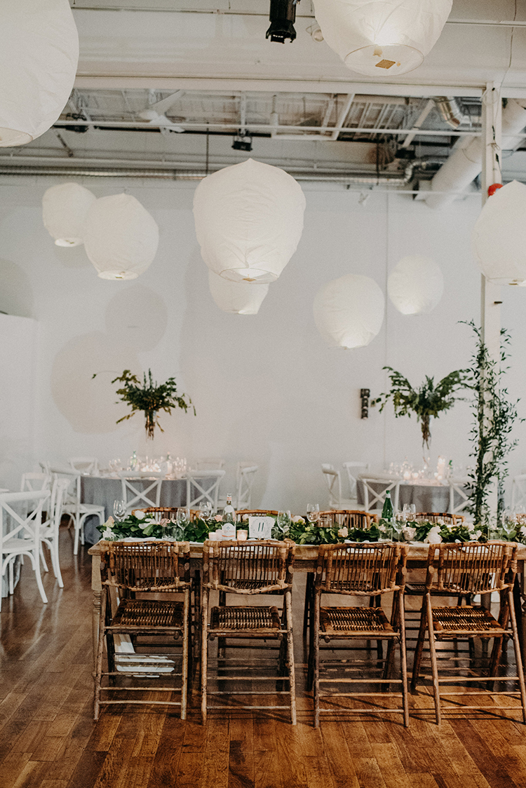 modern wedding ideas - photo by Scarlet ONeill http://ruffledblog.com/industrial-space-meets-enchanted-forest-wedding