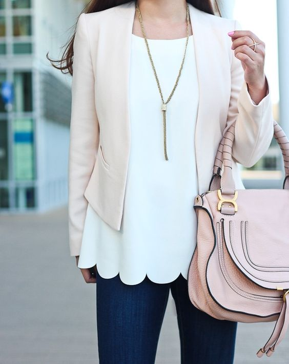 navy jeans, a white scallop edge top, a blush blazer and a pink bag for a girlish feel