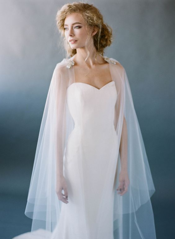 a sheer veil that doubles as a cape is needed - choose what you like more and wear it accordingly