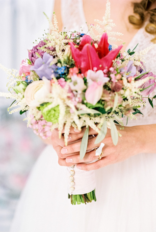 Colorful whimsical bridal bouquet