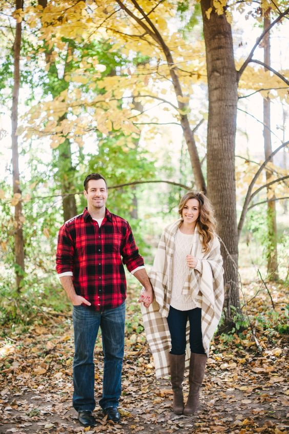 the looks are coordinated with the same print and jeans, plaid is great for fall