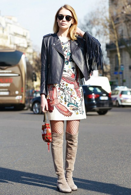 With printed dress, leather jacket and over the knee boots