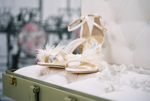 Jimmy Choo white feather shoes