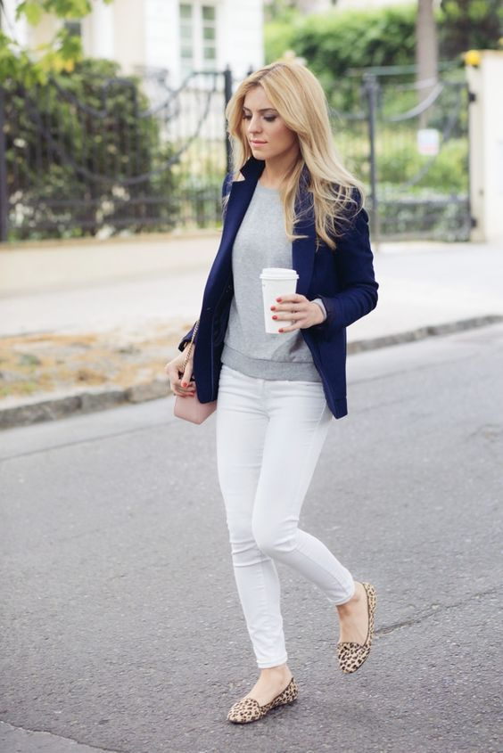 white skinnies, a grey top, a navy blazer and leopard print flats