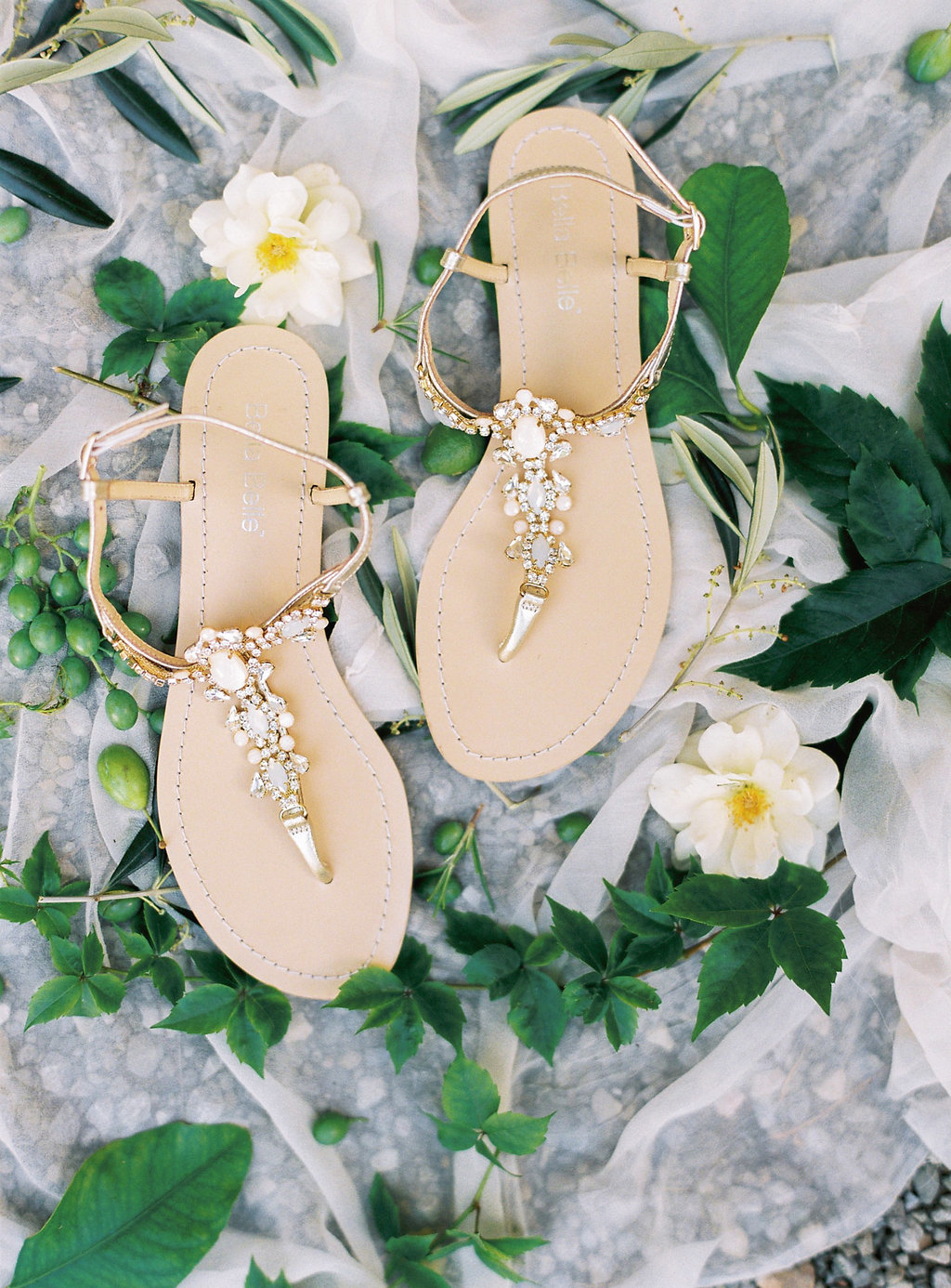 embellished wedding sandals - photo by Katie Grant Photography http://ruffledblog.com/classically-beautiful-intimate-wedding-in-tuscany