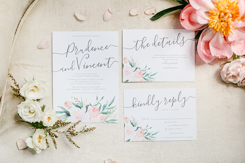 romantic wedding stationery - photo by Emily Wren Photography http://ruffledblog.com/bright-beautiful-summer-wedding-with-geometric-accents