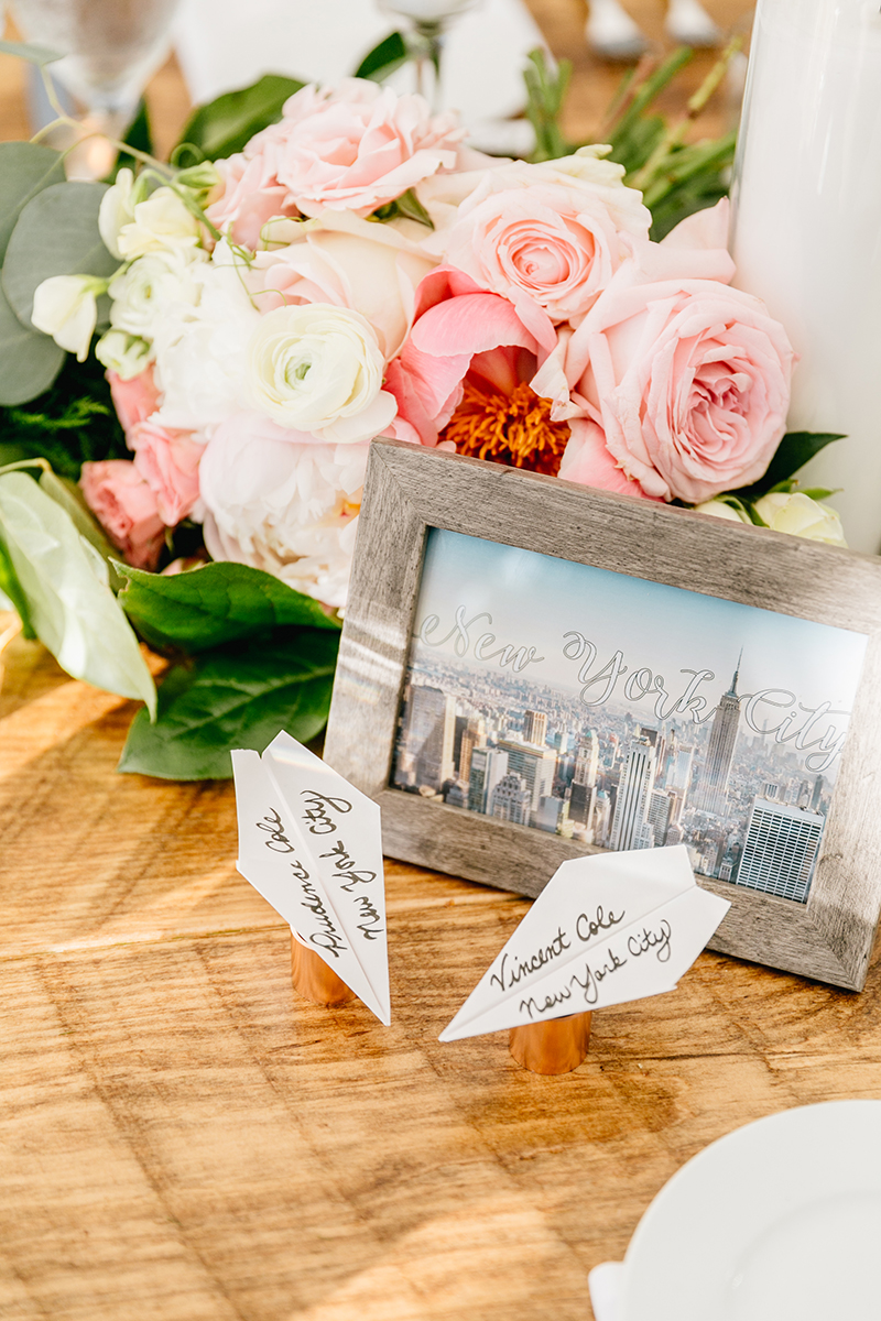 place card ideas - photo by Emily Wren Photography http://ruffledblog.com/bright-beautiful-summer-wedding-with-geometric-accents