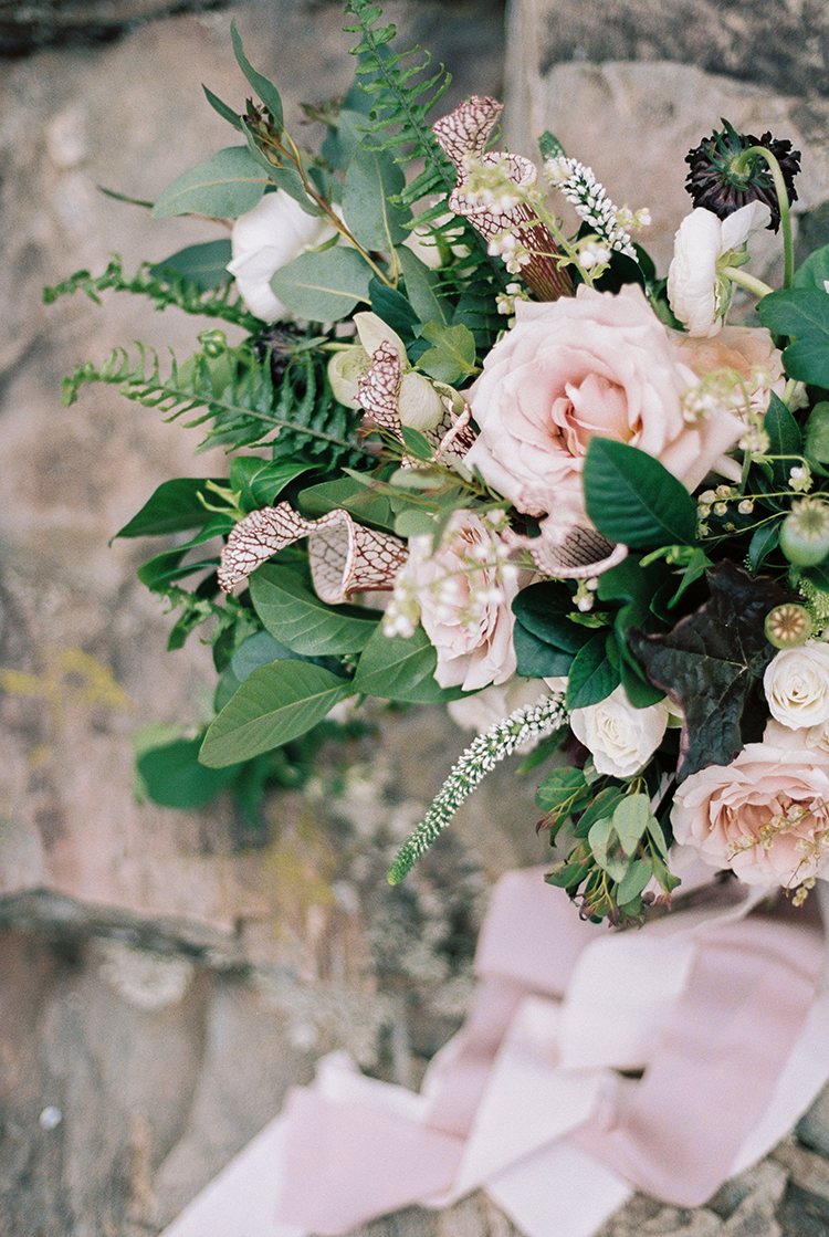 light pink rose wedding bouquets - photo by Photographs by Czar Goss http://ruffledblog.com/romantic-bridal-inspiration-in-great-falls-virginia