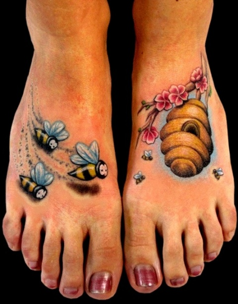 Bees and hive tattoos on the both feet