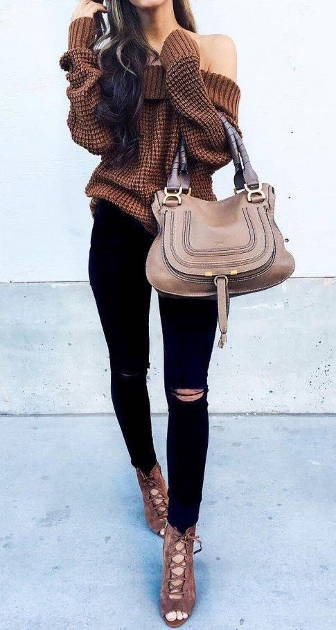 brown lace up sandals, black ripped skinnies, a brown off the shoulder sweater and a large bag