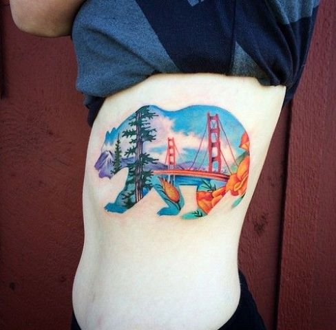 Bear with California views tattoo