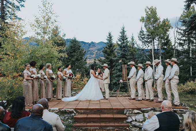 The ceremony took place on a special stand in the backdrop of mountain woodlands, no decor is needed with such views