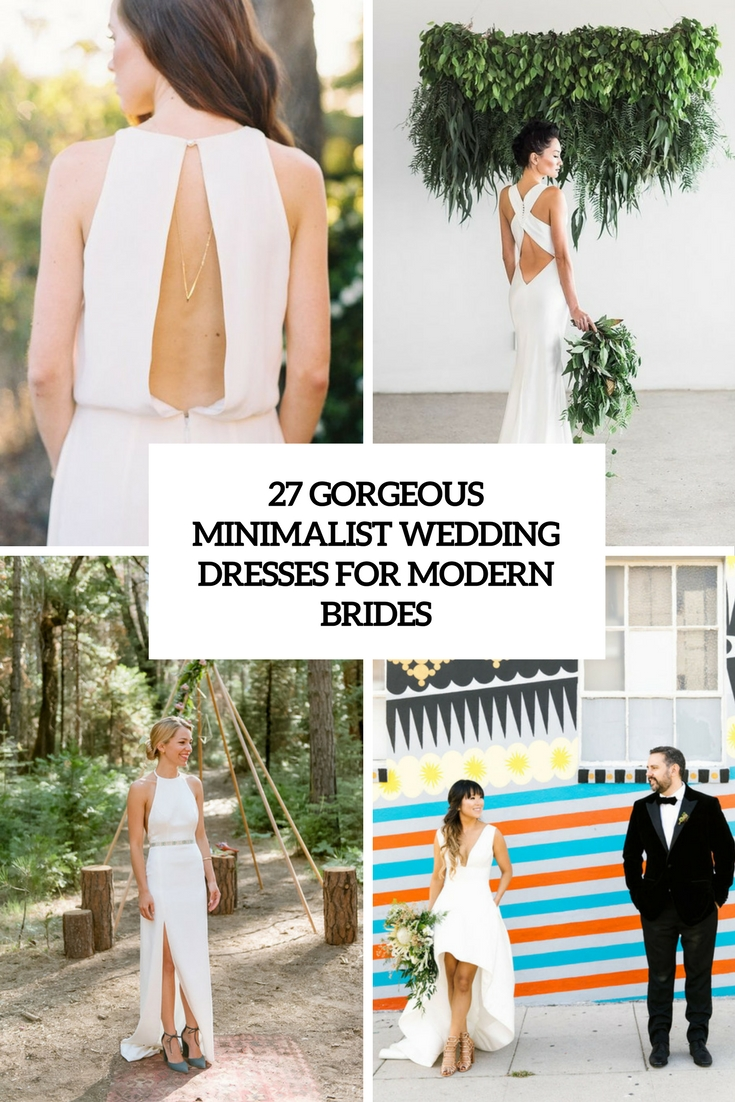 gorgeous minimalist wedding dresses for modern brides cover