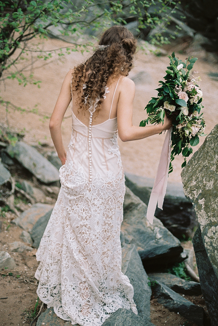 unique lace bridal gowns - photo by Photographs by Czar Goss http://ruffledblog.com/romantic-bridal-inspiration-in-great-falls-virginia