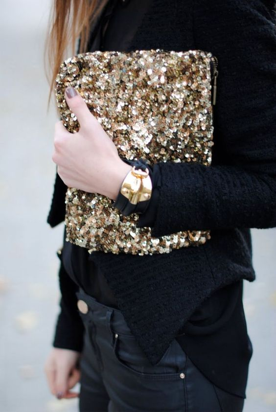 a sequin clutch is a perfect choice for parties of any kind