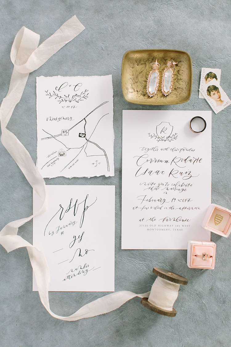 romantic wedding invitations - photo by Mustard Seed Photography http://ruffledblog.com/modern-farmhouse-wedding-with-organic-details