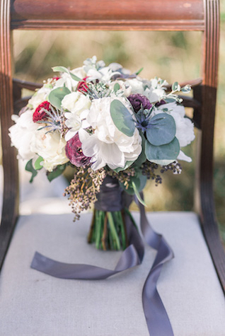 White and green bridal bouquet | Georgina Ruth Photography
