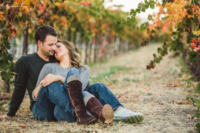 fall engagement in a vineyard will hint on your wedding venue