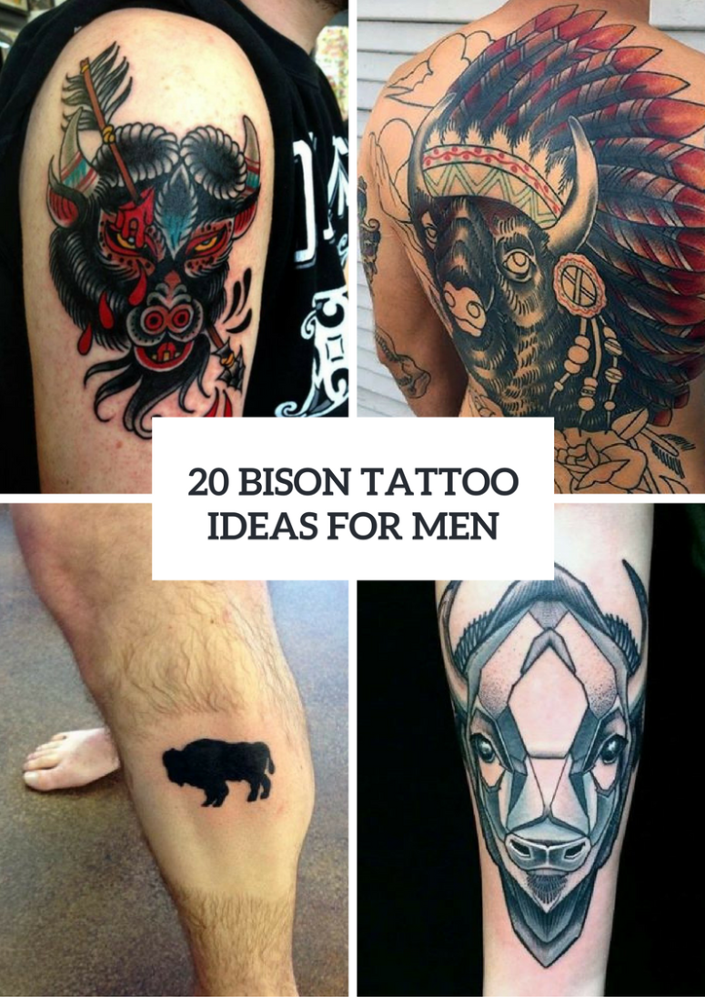 Bison Tattoo Ideas For Men