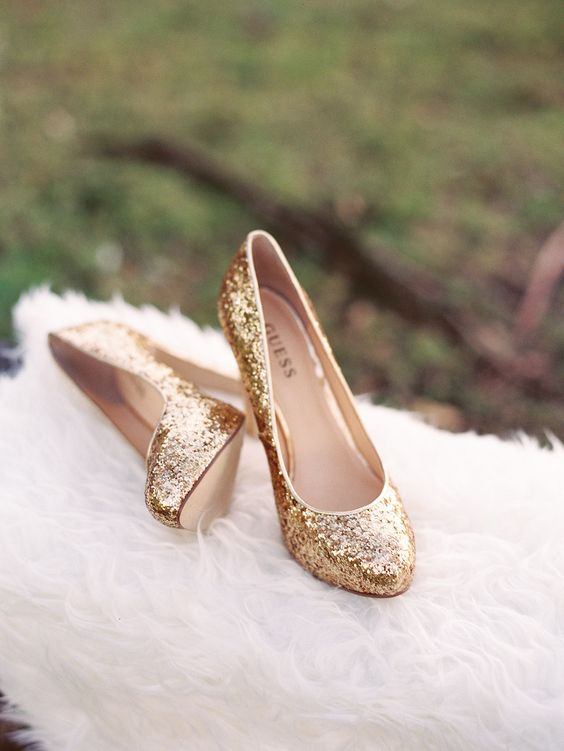 gold glitter wedding shoes for the bride