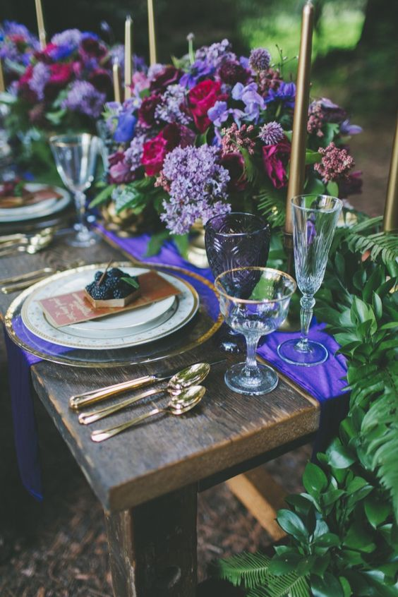 chic and bold lilac, purple, blue and fuchsia flower table decor