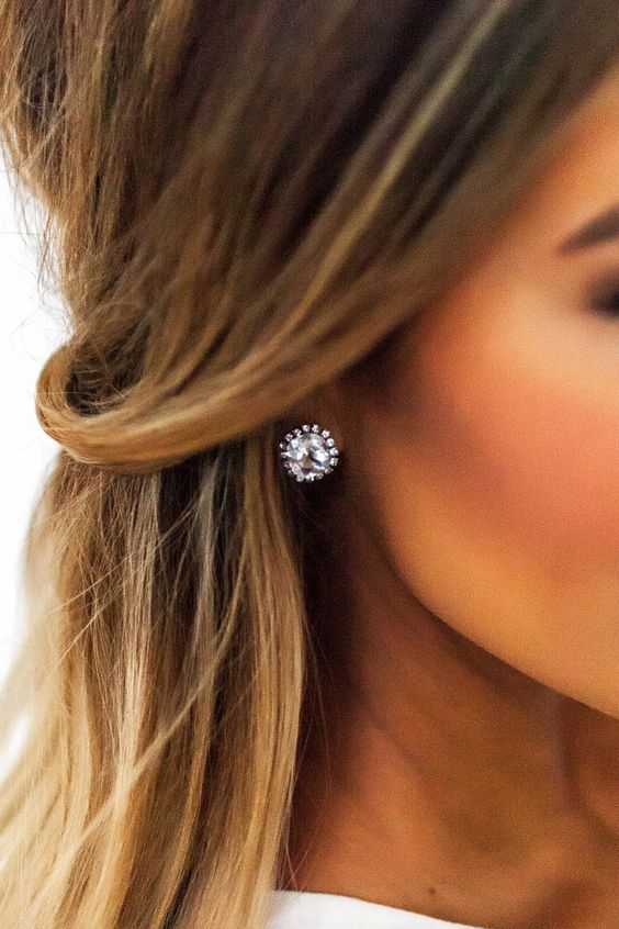 large rhinestone stud earrings will fit many occasions, even weddings