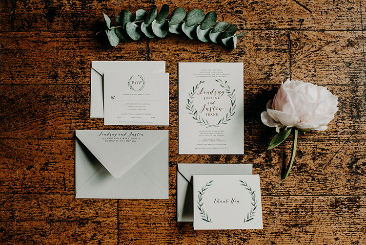 romantic greenery wedding stationery - photo by Scarlet ONeill http://ruffledblog.com/industrial-space-meets-enchanted-forest-wedding