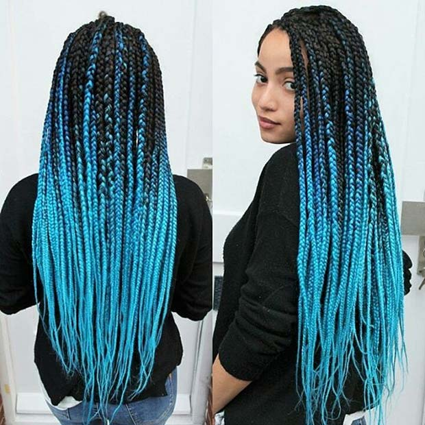 Blue Ombre Box Braids for Summer Protective Styles for Black Women