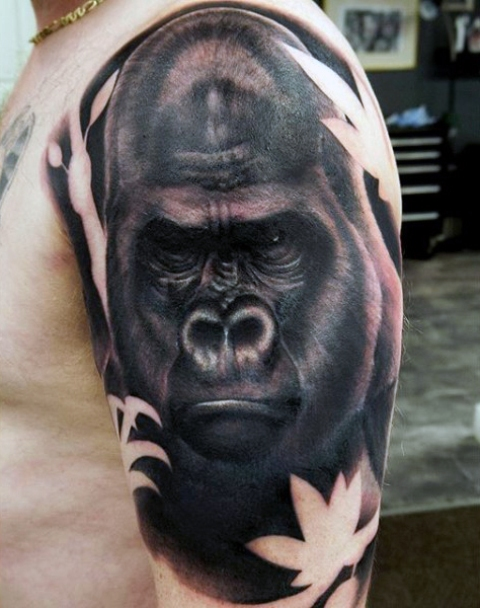 Gorilla tattoo on the arm