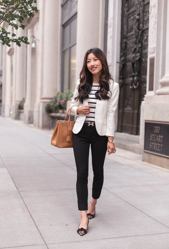 black cropped pants, a striped black and white top, a white blazer, leopard flats and a camel bag are perfect 60 degrees weather outfit