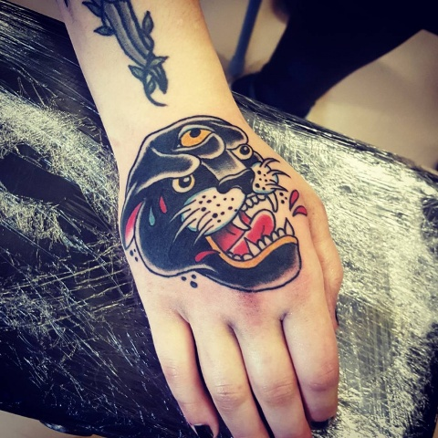 Panther tattoo on the hand