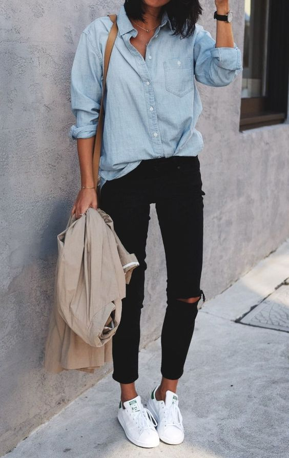 black ripped cropped jeans, a chambray shirt, white chucks and a neutral blazer if needed