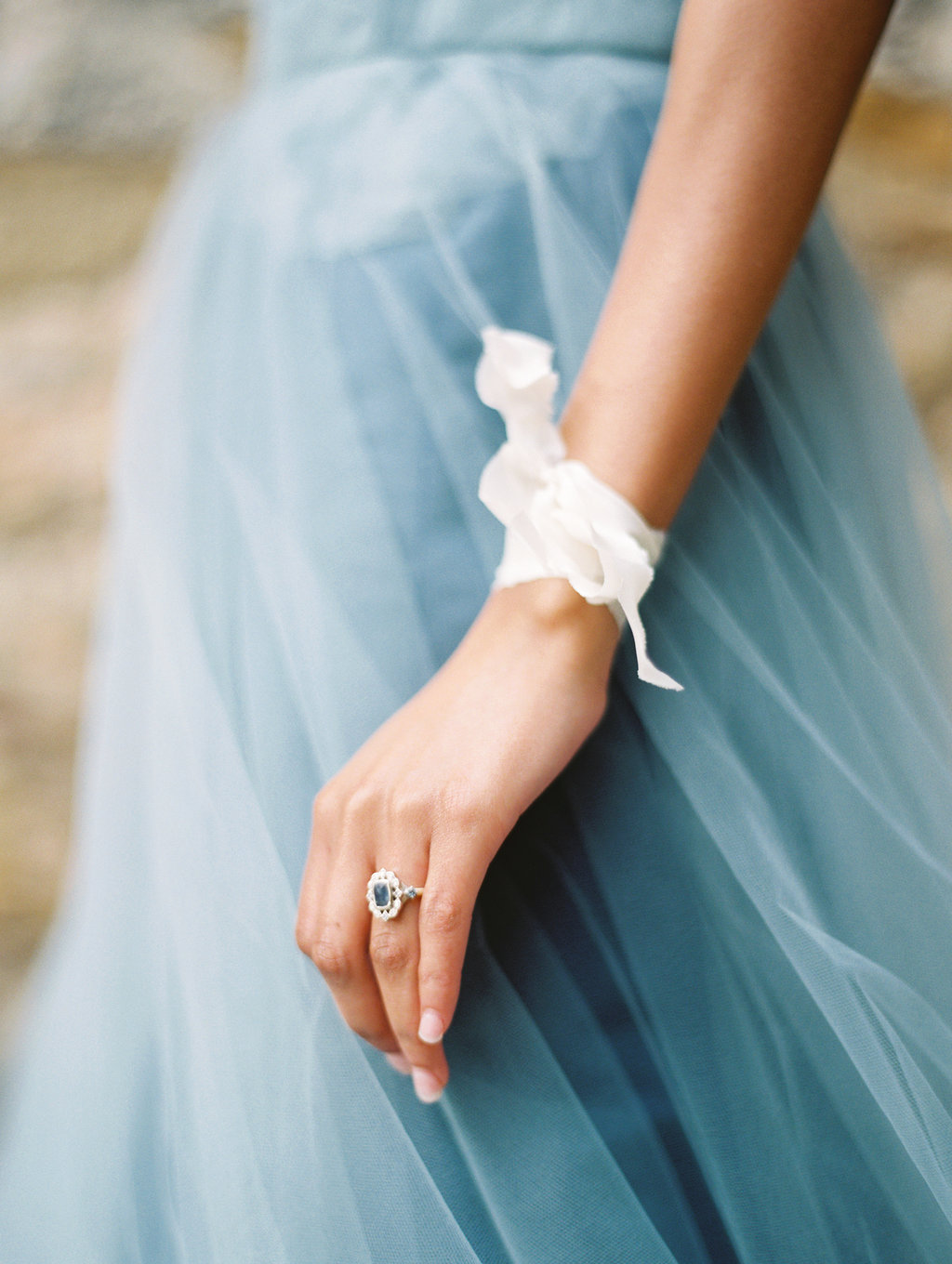 bridal ribbon accessories - photo by Charla Storey http://ruffledblog.com/architectural-san-antonio-mission-wedding-inspiration