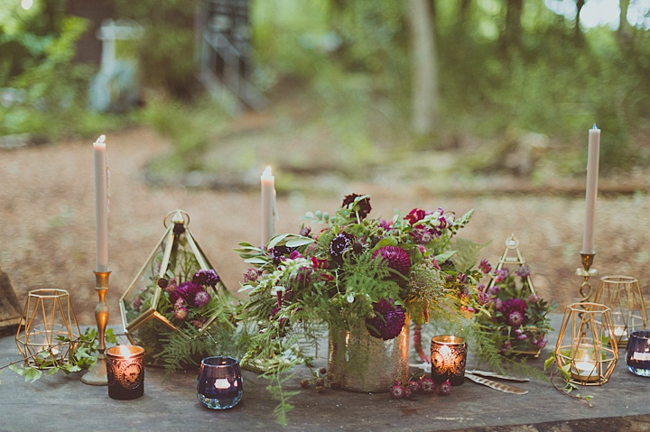 Lots of ferns and candles made the tablescape natural though very chic