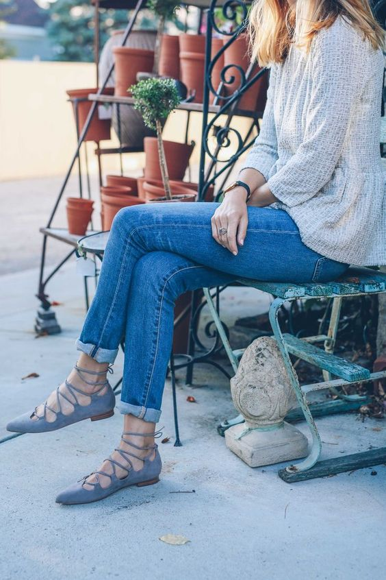 blue jeans, grey lace up flats and a neutral textural top