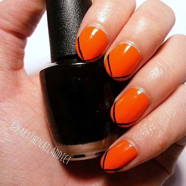 Stylish Black and Orange Nails for Halloween Nail Designs