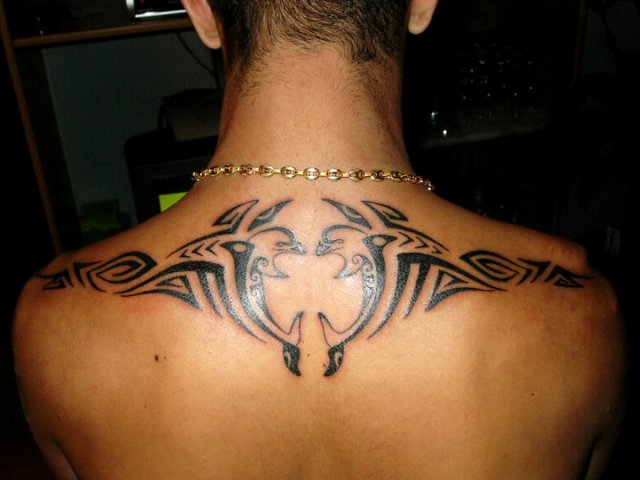 Cool tribal tattoo on the back